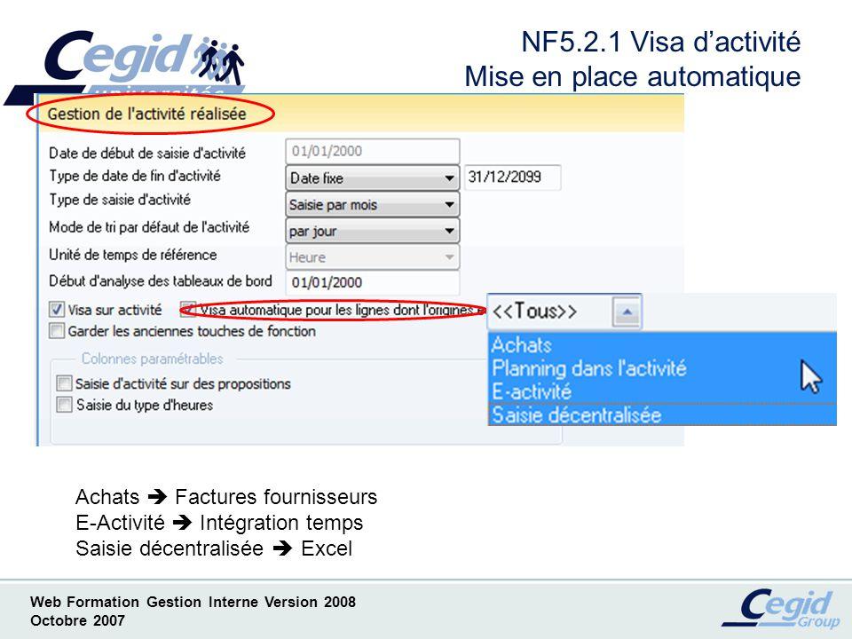 NF5.2.1 Visa d'activité Mise en place automatique