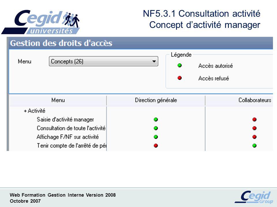 NF5.3.1 Consultation activité Concept d'activité manager