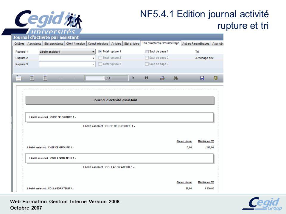 NF5.4.1 Edition journal activité rupture et tri