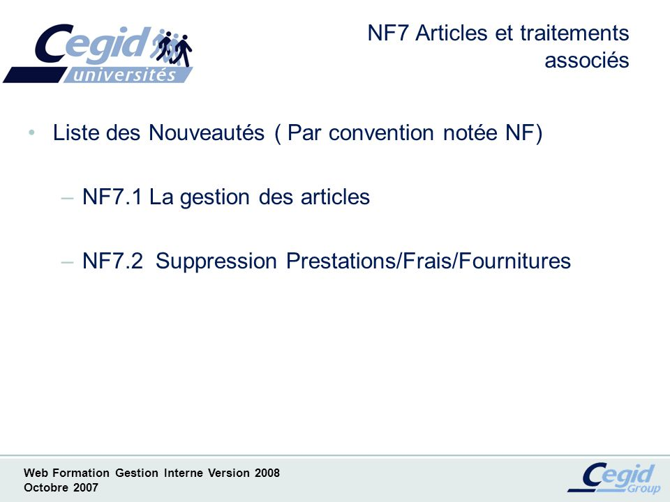NF7 Articles et traitements associés