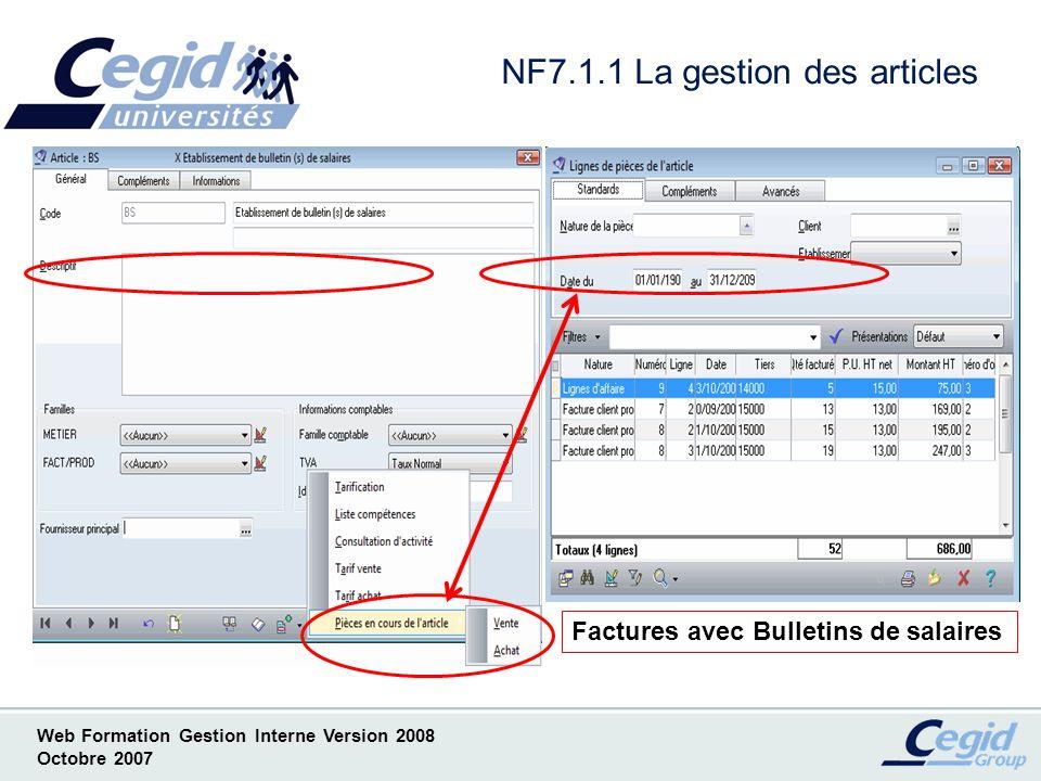 NF7.1.1 La gestion des articles