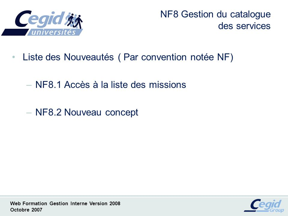 NF8 Gestion du catalogue des services