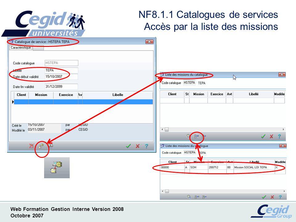 NF8.1.1 Catalogues de services Accès par la liste des missions