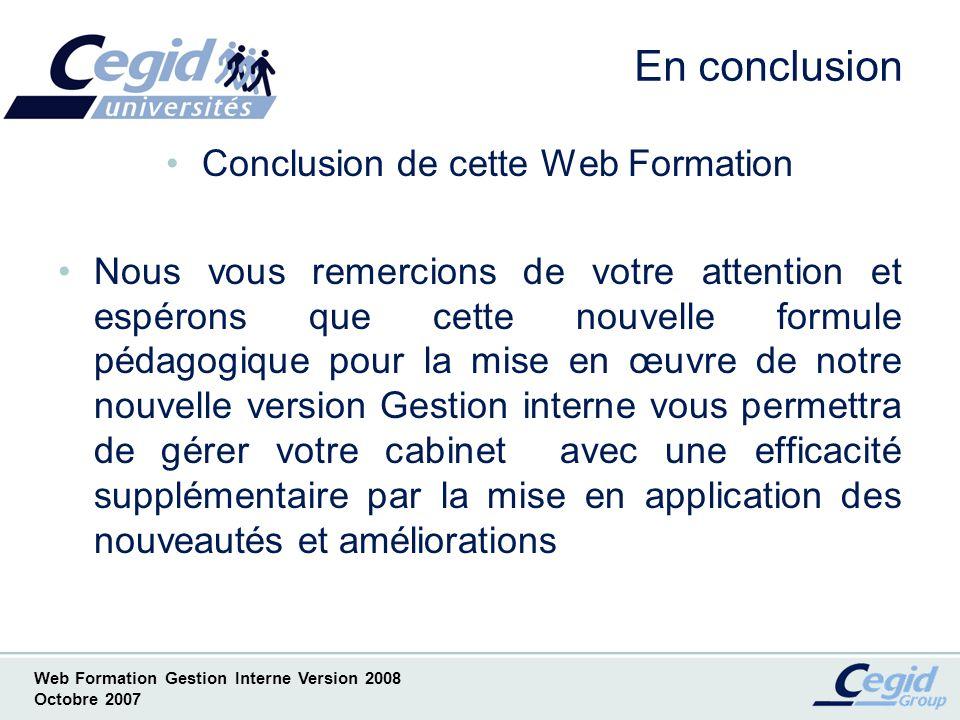 Conclusion de cette Web Formation