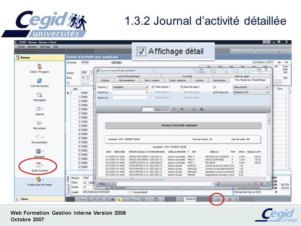 1.3.2 Journal d'activité détaillée