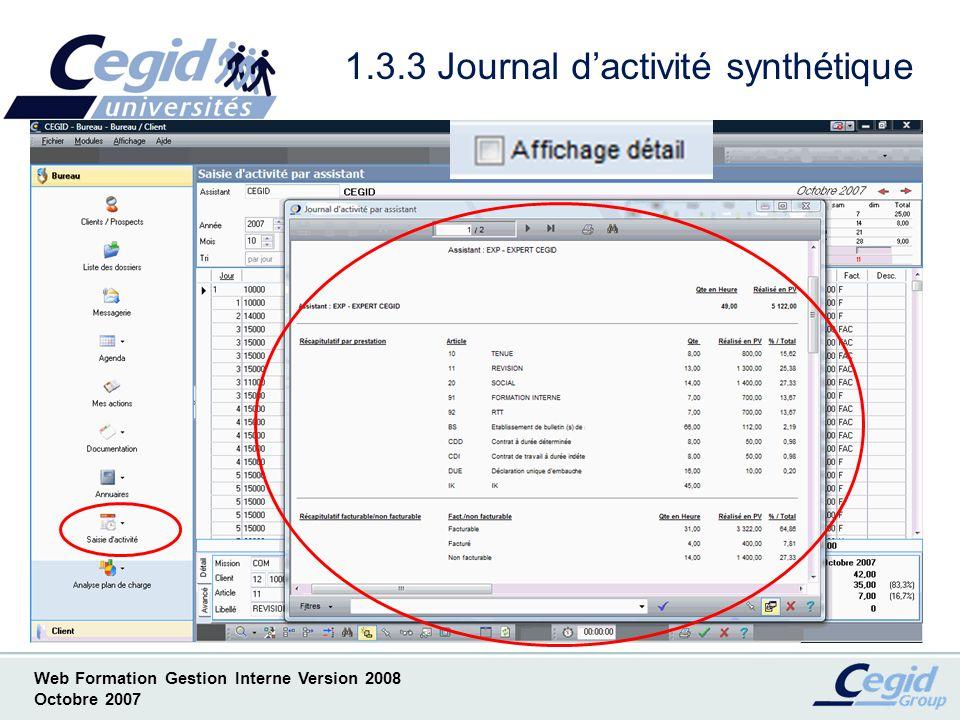 1.3.3 Journal d'activité synthétique