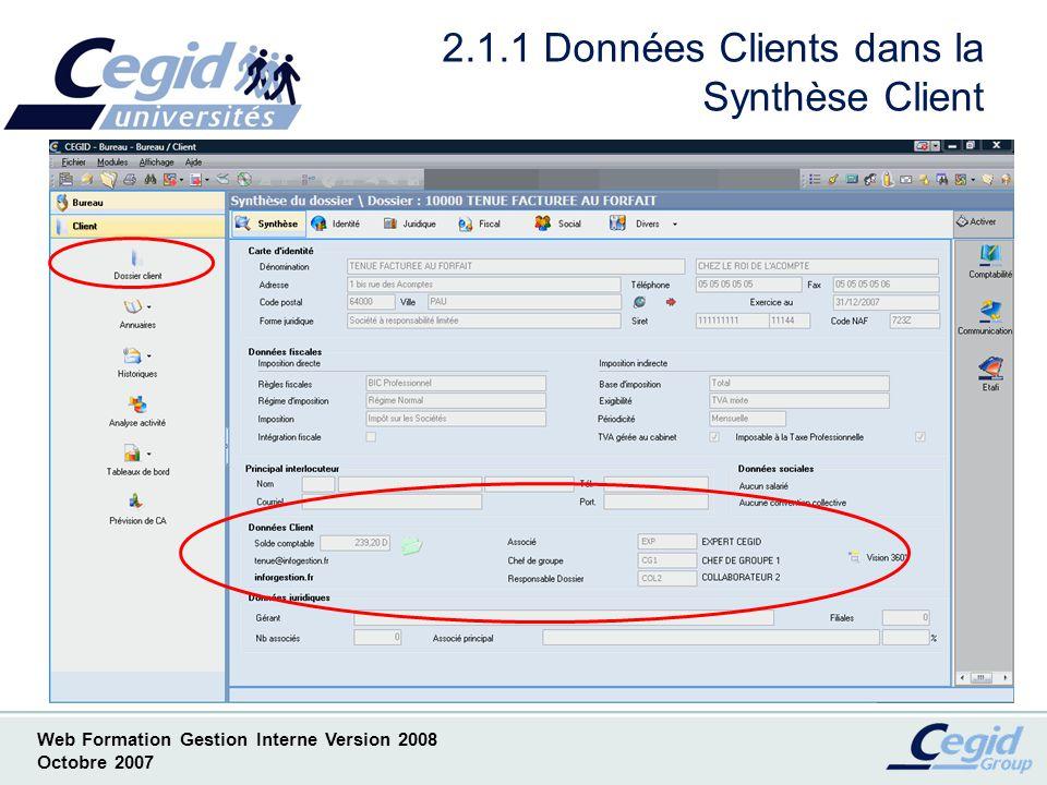 2.1.1 Données Clients dans la Synthèse Client