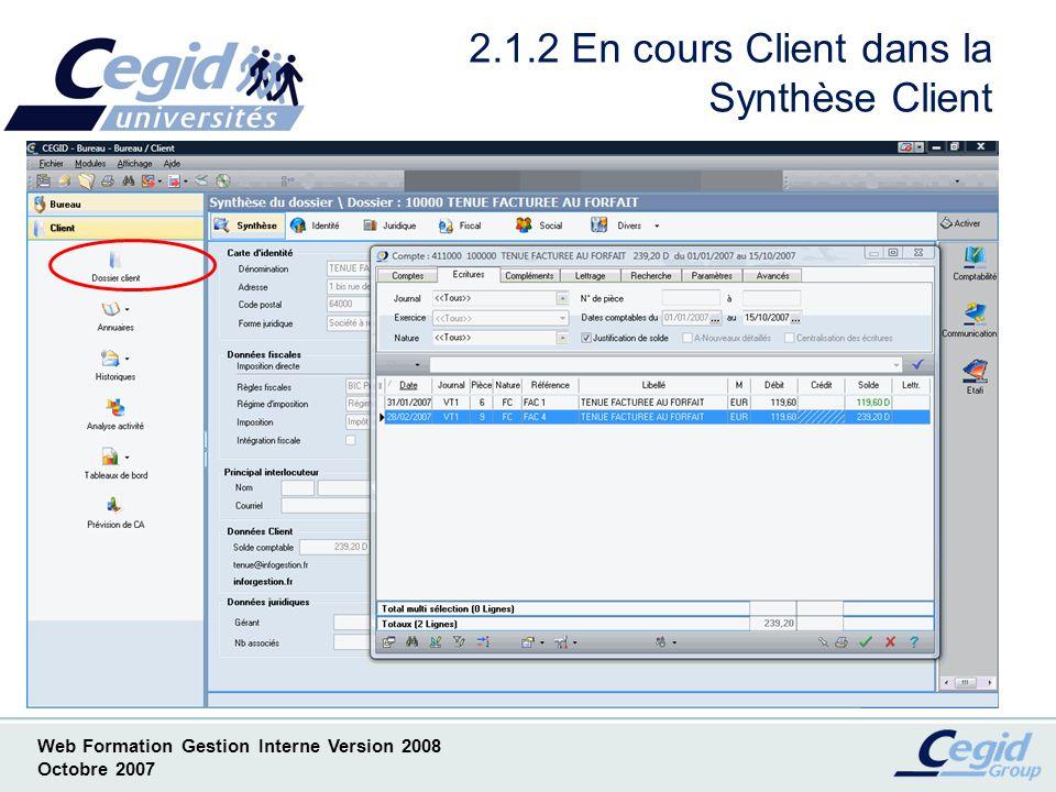 2.1.2 En cours Client dans la Synthèse Client