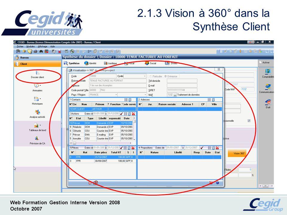 2.1.3 Vision à 360° dans la Synthèse Client