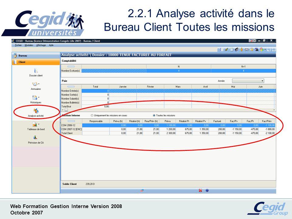 2.2.1 Analyse activité dans le Bureau Client Toutes les missions
