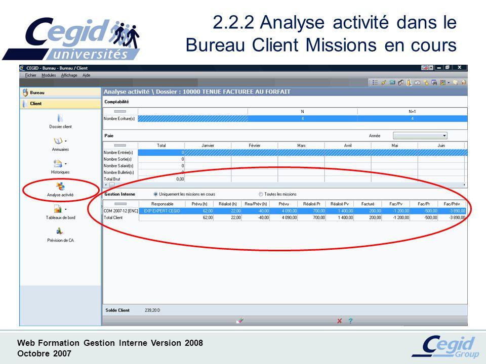 2.2.2 Analyse activité dans le Bureau Client Missions en cours