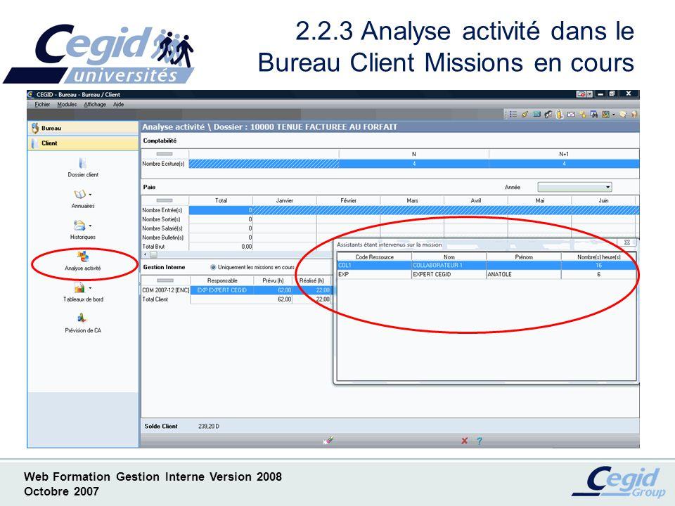 2.2.3 Analyse activité dans le Bureau Client Missions en cours