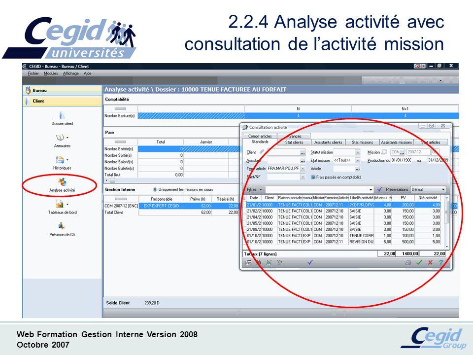 2.2.4 Analyse activité avec consultation de l'activité mission