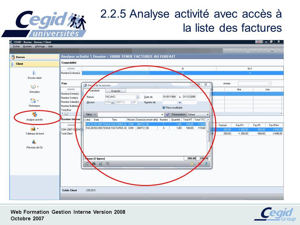 2.2.5 Analyse activité avec accès à la liste des factures