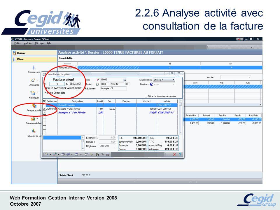 2.2.6 Analyse activité avec consultation de la facture