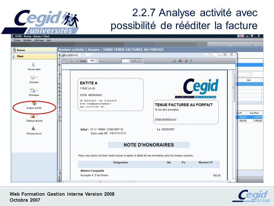 2.2.7 Analyse activité avec possibilité de rééditer la facture