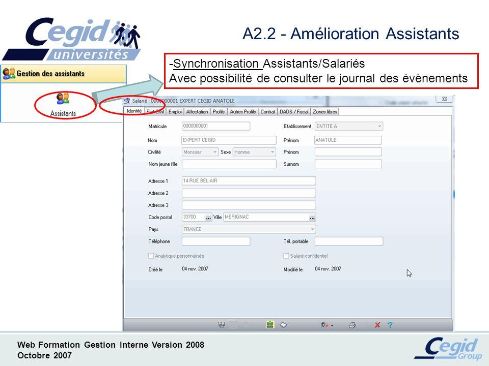 A2.2 - Amélioration Assistants