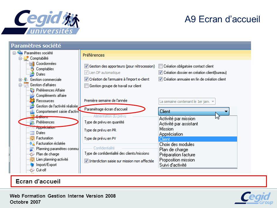 A9 Ecran d'accueil Ecran d accueil