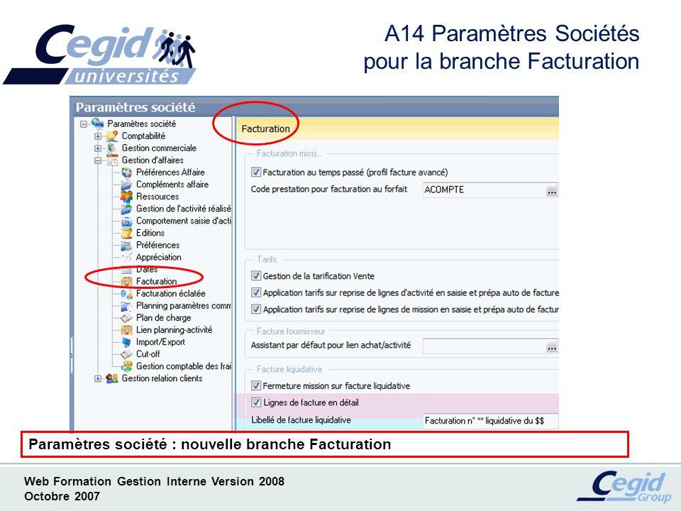 A14 Paramètres Sociétés pour la branche Facturation