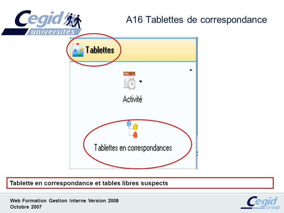 A16 Tablettes de correspondance