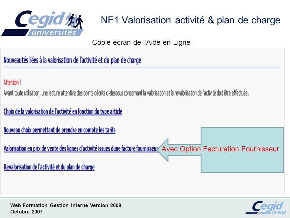 NF1 Valorisation activité & plan de charge