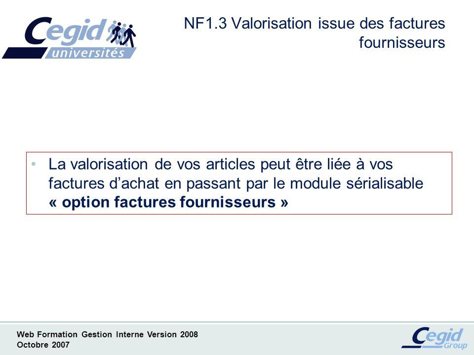 NF1.3 Valorisation issue des factures fournisseurs