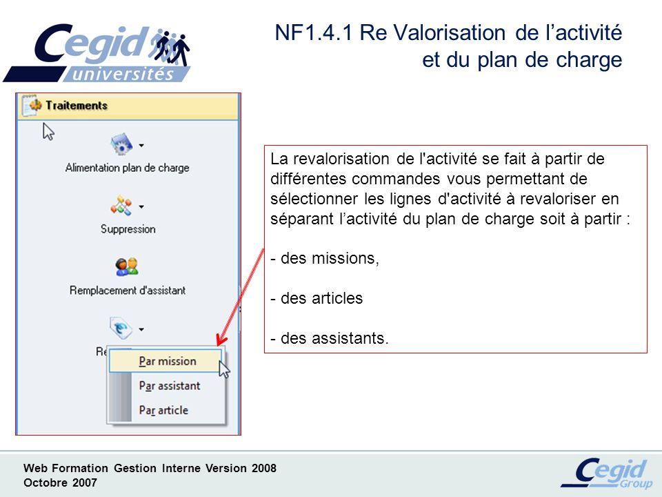 NF1.4.1 Re Valorisation de l'activité et du plan de charge