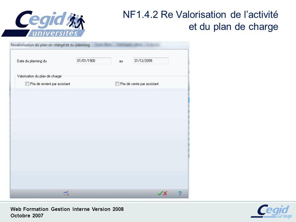 NF1.4.2 Re Valorisation de l'activité et du plan de charge
