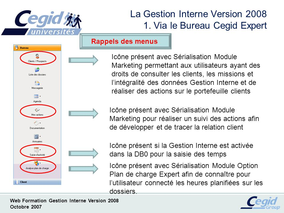 La Gestion Interne Version 2008 1. Via le Bureau Cegid Expert