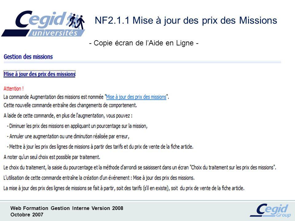 NF2.1.1 Mise à jour des prix des Missions