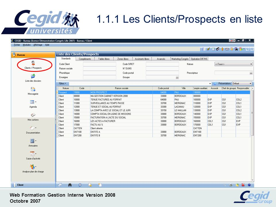 1.1.1 Les Clients/Prospects en liste