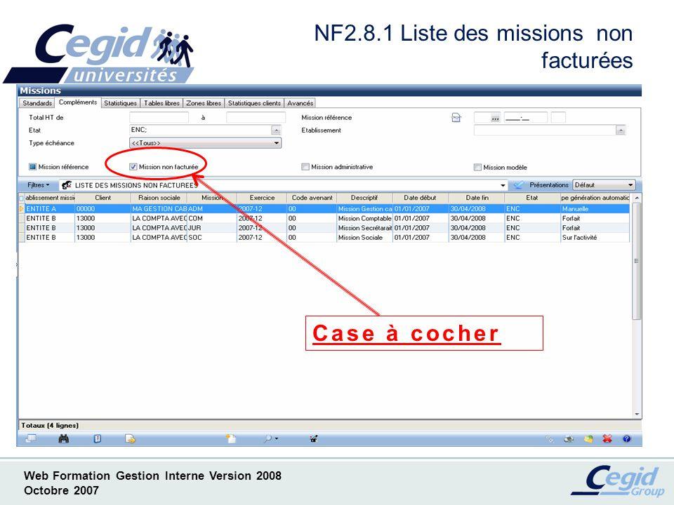 NF2.8.1 Liste des missions non facturées
