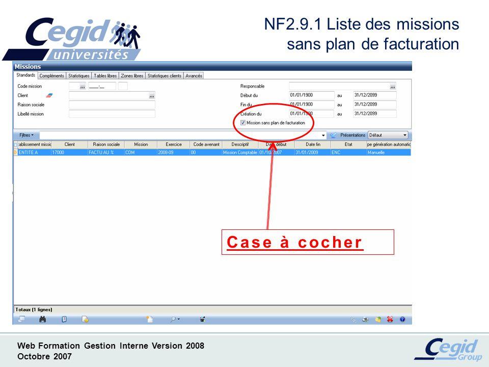 NF2.9.1 Liste des missions sans plan de facturation
