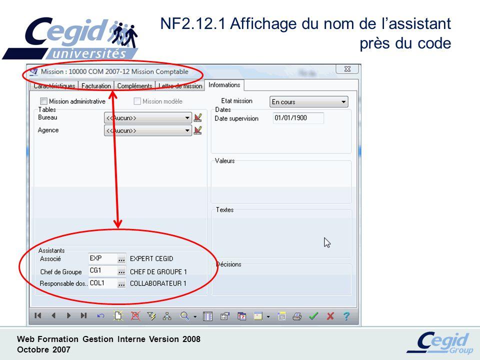 NF2.12.1 Affichage du nom de l'assistant près du code