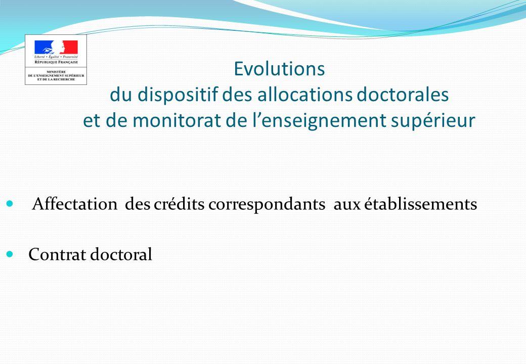 Evolutions du dispositif des allocations doctorales et de monitorat de l'enseignement supérieur