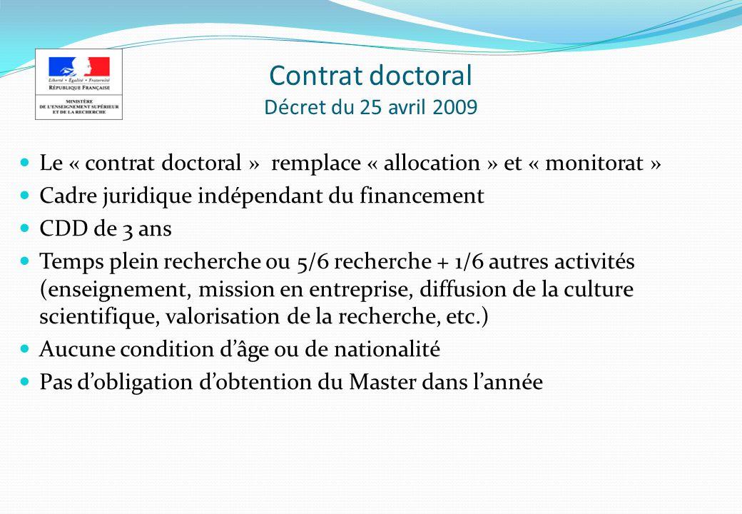 Contrat doctoral Décret du 25 avril 2009
