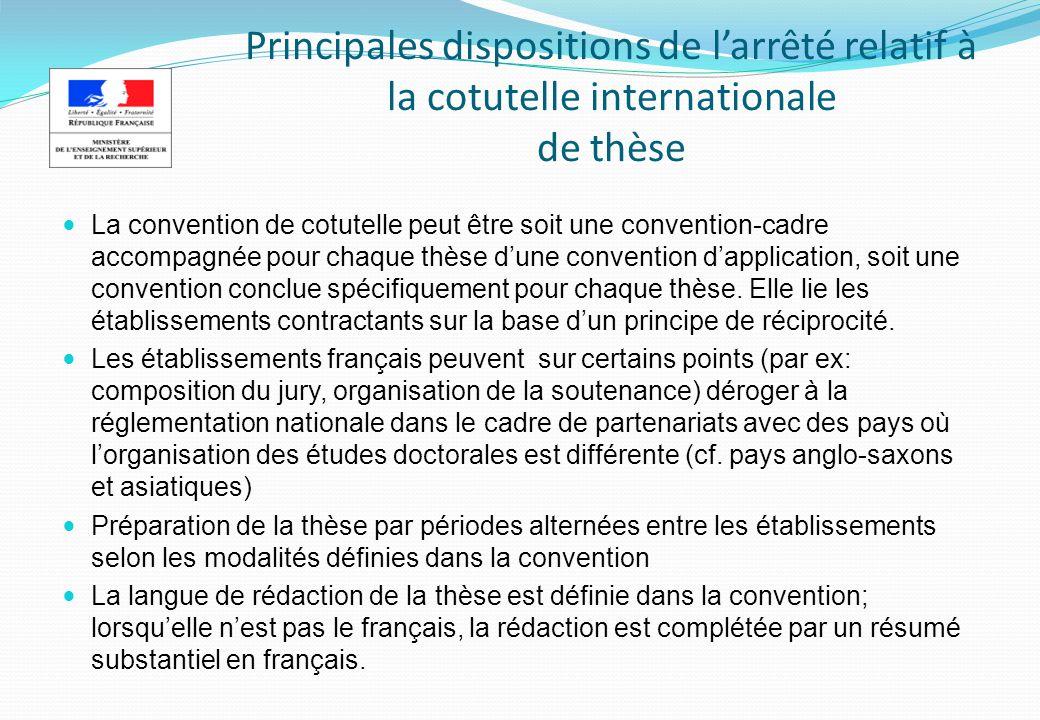 Principales dispositions de l'arrêté relatif à la cotutelle internationale de thèse