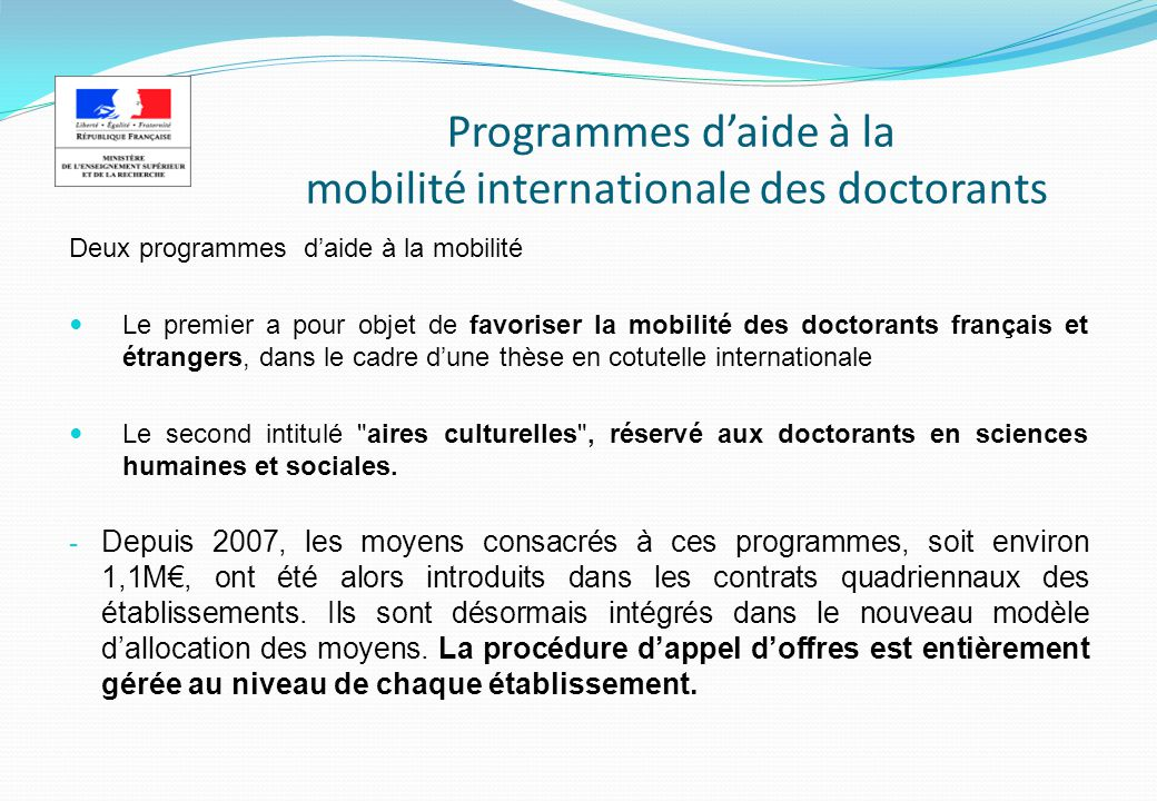 Programmes d'aide à la mobilité internationale des doctorants