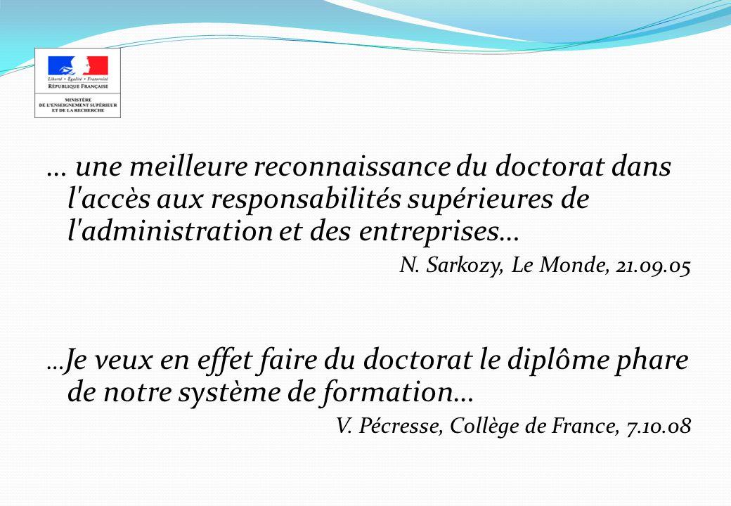 … une meilleure reconnaissance du doctorat dans l accès aux responsabilités supérieures de l administration et des entreprises…