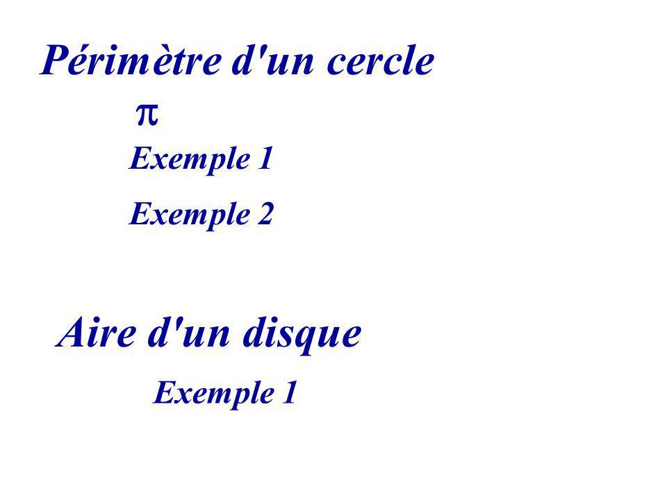 Périmètre d un cercle p Exemple 1 Exemple 2 Aire d un disque Exemple 1