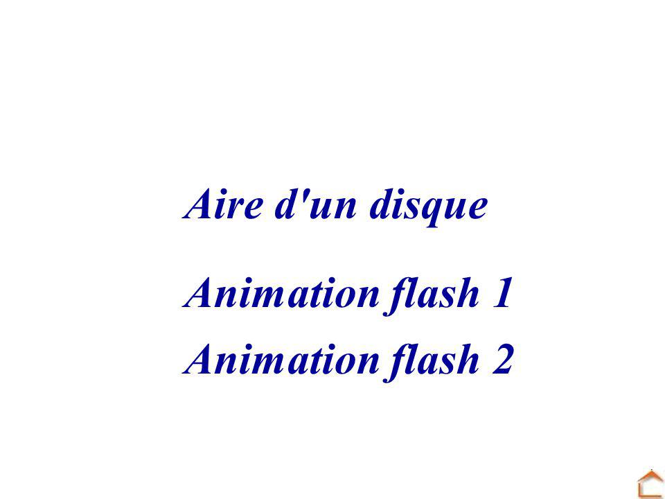 Aire d un disque Animation flash 1 Animation flash 2