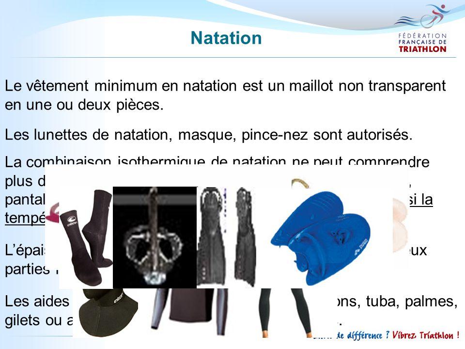Natation Le vêtement minimum en natation est un maillot non transparent en une ou deux pièces.