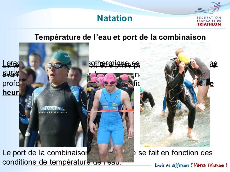 Natation Température de l'eau et port de la combinaison