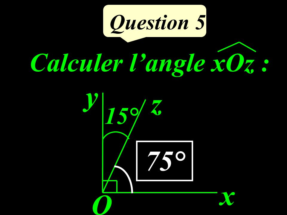 Question 5 Calculer l'angle xOz : x O y z 15° 75°