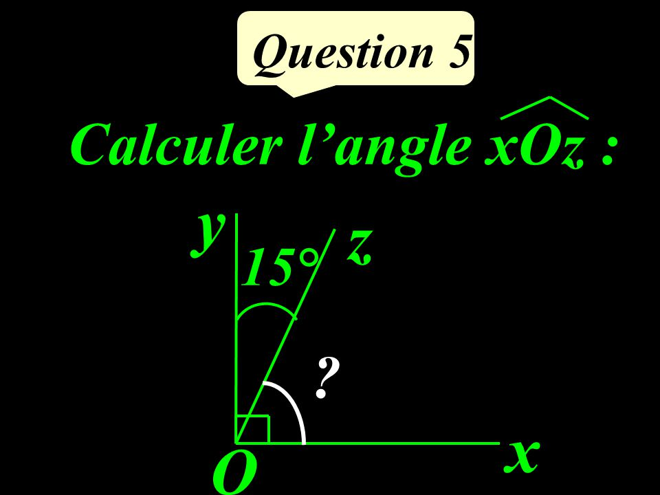 Question 5 Calculer l'angle xOz : x O y z 15°