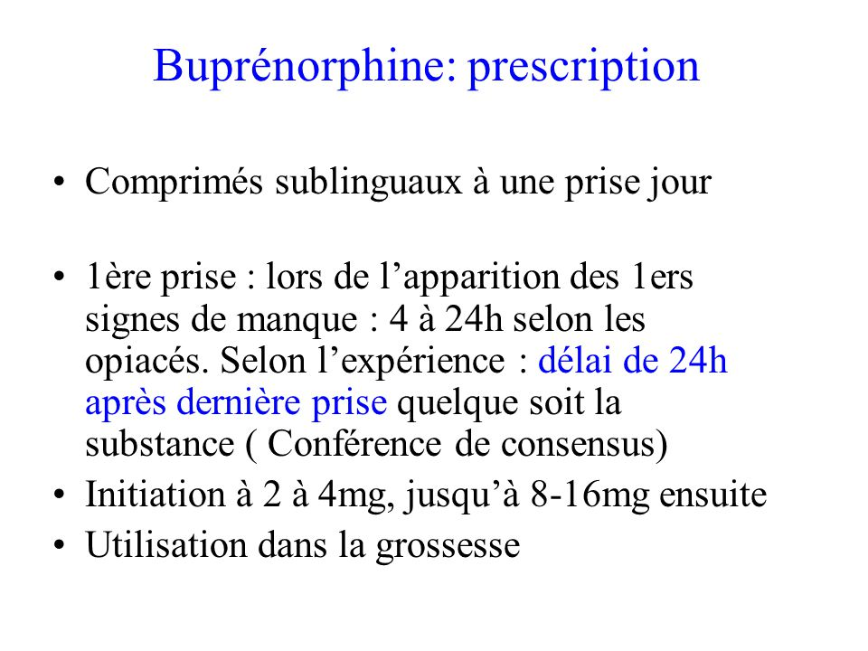 Buprénorphine: prescription