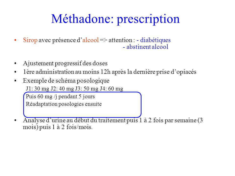 Méthadone: prescription
