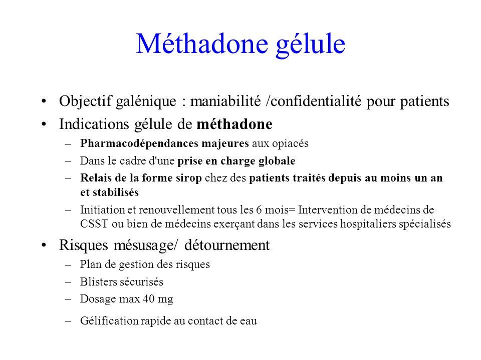 Méthadone gélule Objectif galénique : maniabilité /confidentialité pour patients. Indications gélule de méthadone.