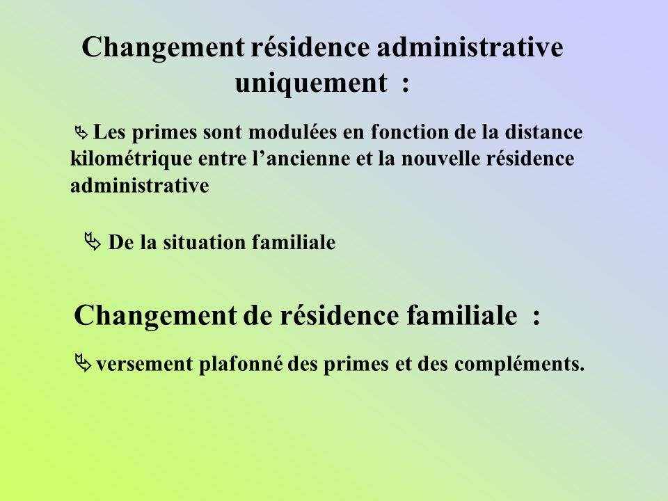 Changement résidence administrative uniquement :