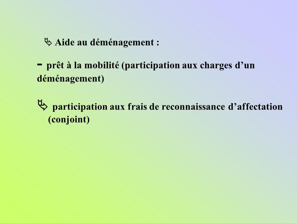 - prêt à la mobilité (participation aux charges d'un déménagement)